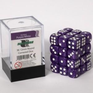 BF - Marbled Purple/W D6 / 12mm - Set 36 kusů