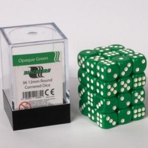 BF - Opaque Green D6 / 12mm - Set 36 kusů
