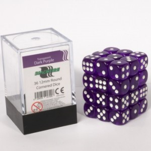 BF - Transparent Dark Purple D6 / 12mm - Set 36 kusů
